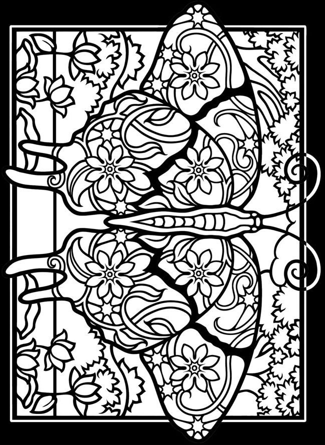 Stained Glass Coloring Pages For Adults | Butterfly ...