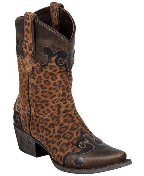 550ed800907 Lane Boots Dakota Short Cheetah Print Wingtip Cowgirl Boots ...