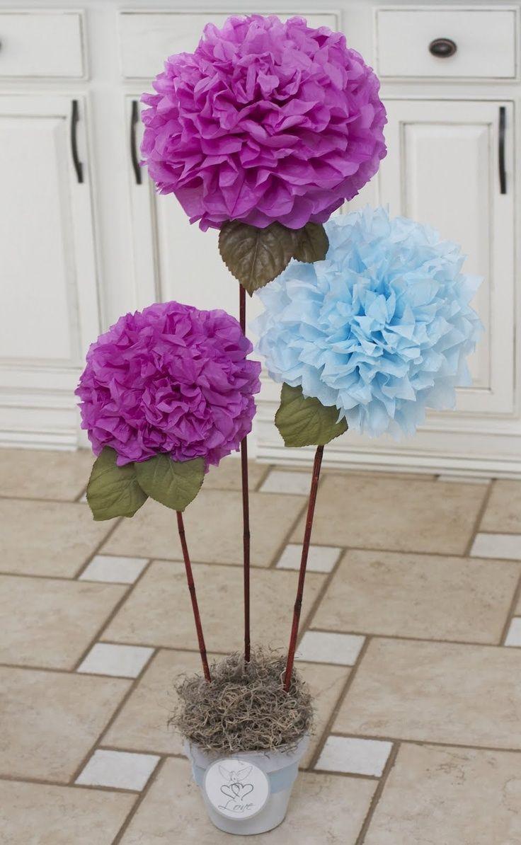 Diy Tissue Paper Pom Pom Flowers Decorazioni Pinterest Pom Pom