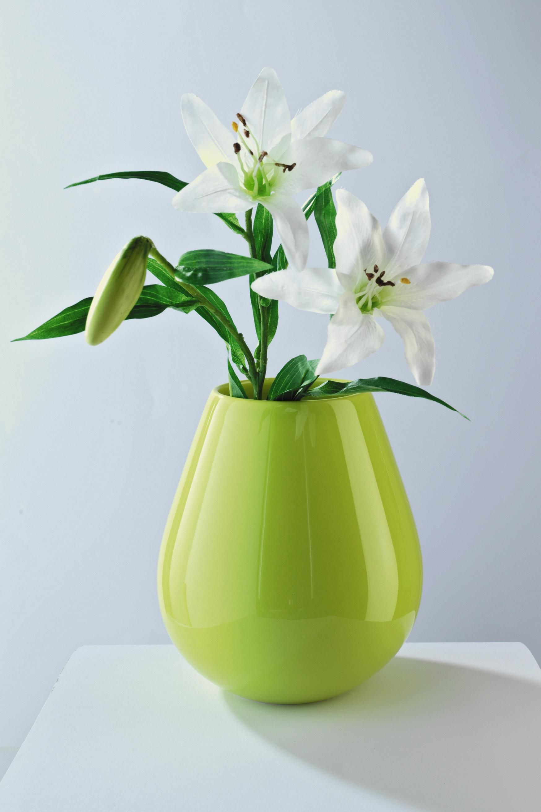 Wir vollen Frische! Mit dieser tollen Vase in zartem Grün, bringt ihr einen dezenten Farbklecks in eure vier Wände!