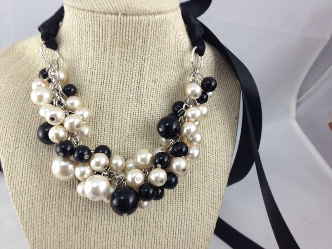 ivory and black chunky bridesmaid necklace wedding by bazinedezine