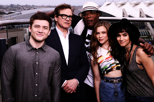 Exclusive Colin Firth Taron Egerton And Sophie Cookson: Taron Egerton With Colin Firth , Samuel Jackson , Sophie
