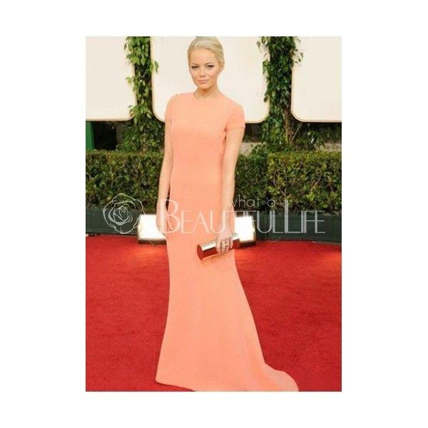 Celebrity Dress - Emma Stone Style Pure Nude Matte Satin Sheath Maxi Dress In 2011 Golden Globe Award Carpet (205 AUD) found on Polyvore