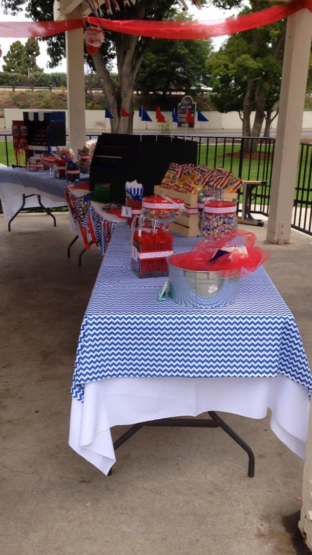 Baseball Theme Birthday Party Candy Bar Concession Stand Set Up Ideas Side  View