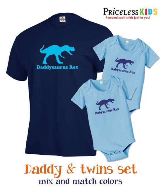ec0e7ba6 Daddy dinosaur and twins t shirt or baby bodysuits set, new dad gift set,  perfect t shirt combo for fathers day gift