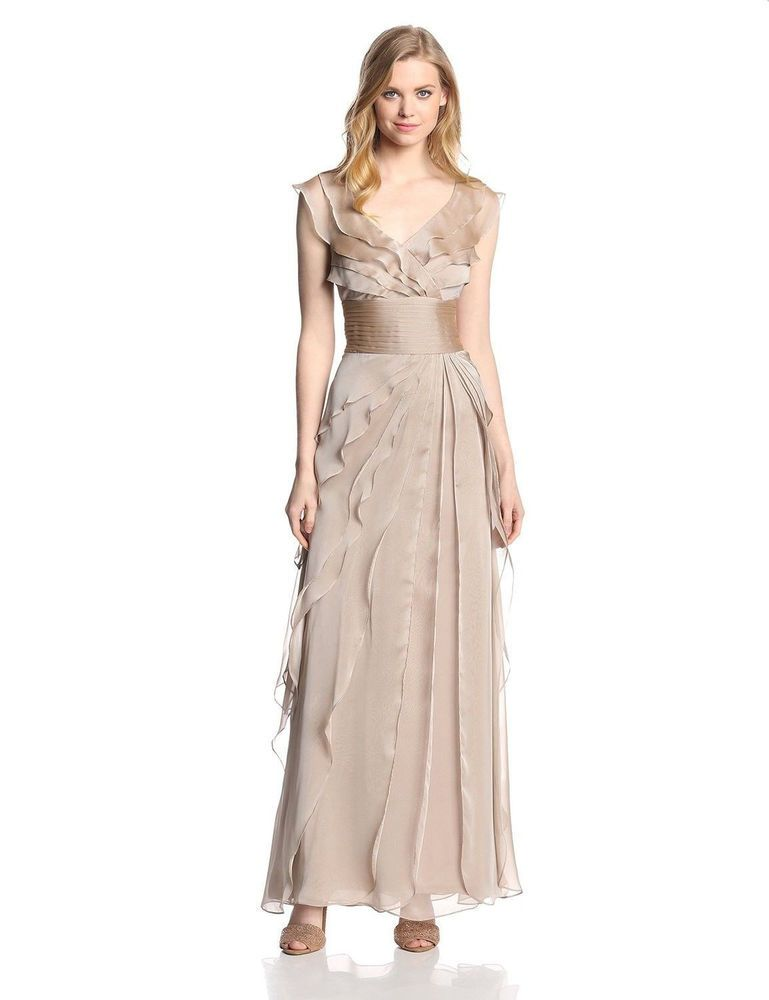 ADRIANNA PAPELL TIERED CHIFFON GOWN Beige SIZE Plus 16 #51 NWT ...