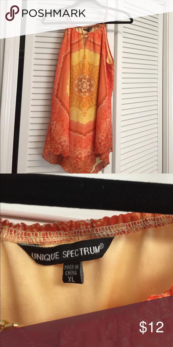 Handkerchief bottom top Beautiful orange, gold and yellow sleeveless top. Size  XL unique spectrum Tops Tank Tops