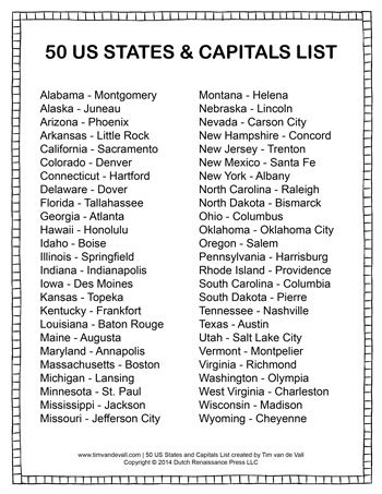 graphic about Printable List of State Capitals Only called Suggests and Capitals Listing - Tims Printables Social Research