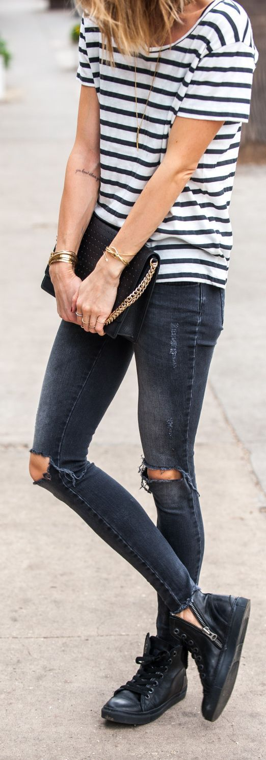 Denim And Stripes Outfit