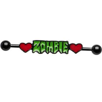 Zombie Love Double Heart Industrial Barbell #zombie #industrial #love #WalkingDead #Halloween #piercing