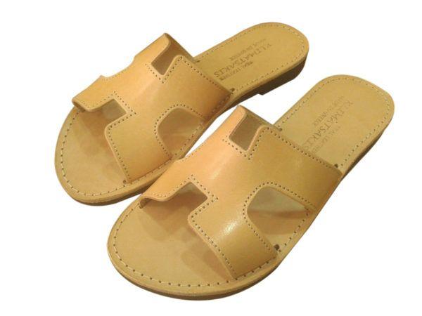 6070b9d2e854 Ancient Greek Style Leather H Sandals Roman Handmade Womens Slide Shoes  Gladiator Spartan Hermes Summer Natural