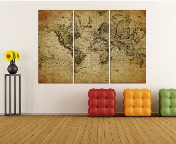 Large canvas art rustic world map wall print world map wall art large canvas art rustic world map wall print world map wall art canvas modern gumiabroncs Image collections