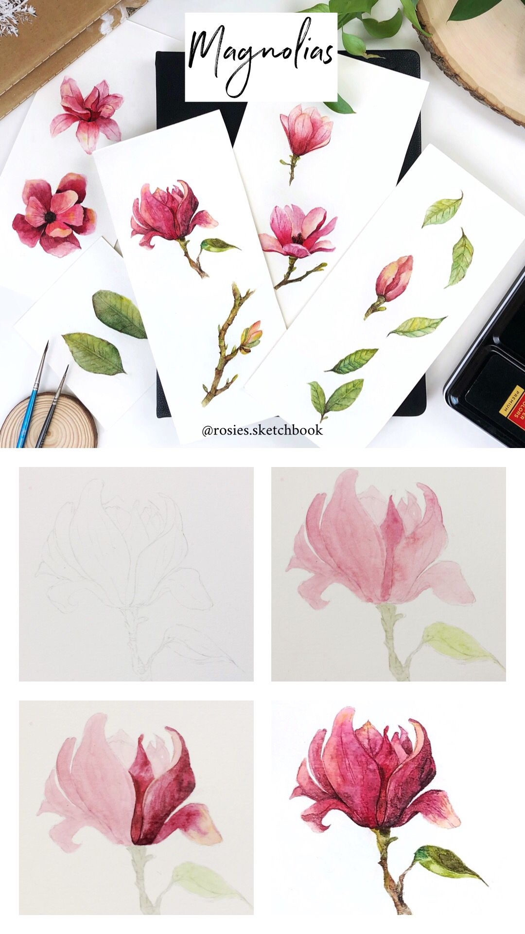 Mini Magnolia Flower Tutorial With Step By Step Process Photos Tutorial Art Artist Painting Watercolor Flowers Tutorial Botanical Painting Flower Painting