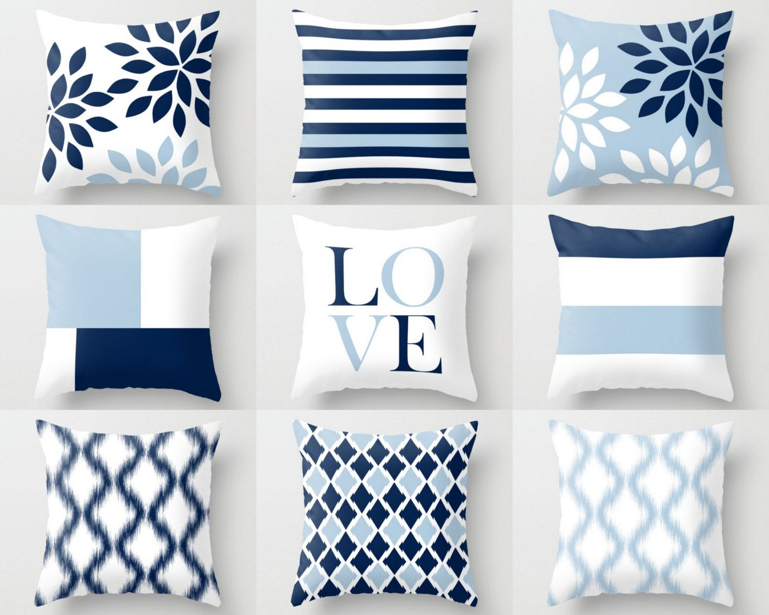 Throw Pillow Covers Light Blue White Navy Blue Pillow Typography
