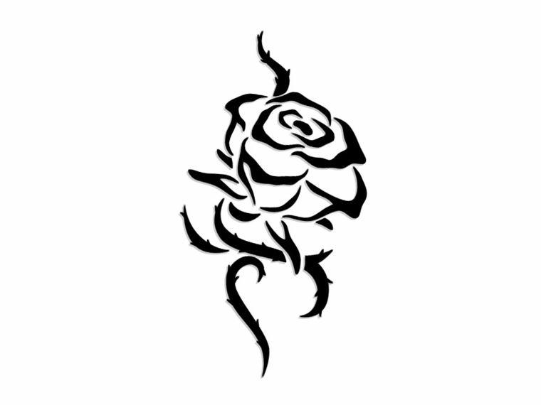 Disegno In Bianco E Nero Per Realizzare Una Rosa Stilizzata