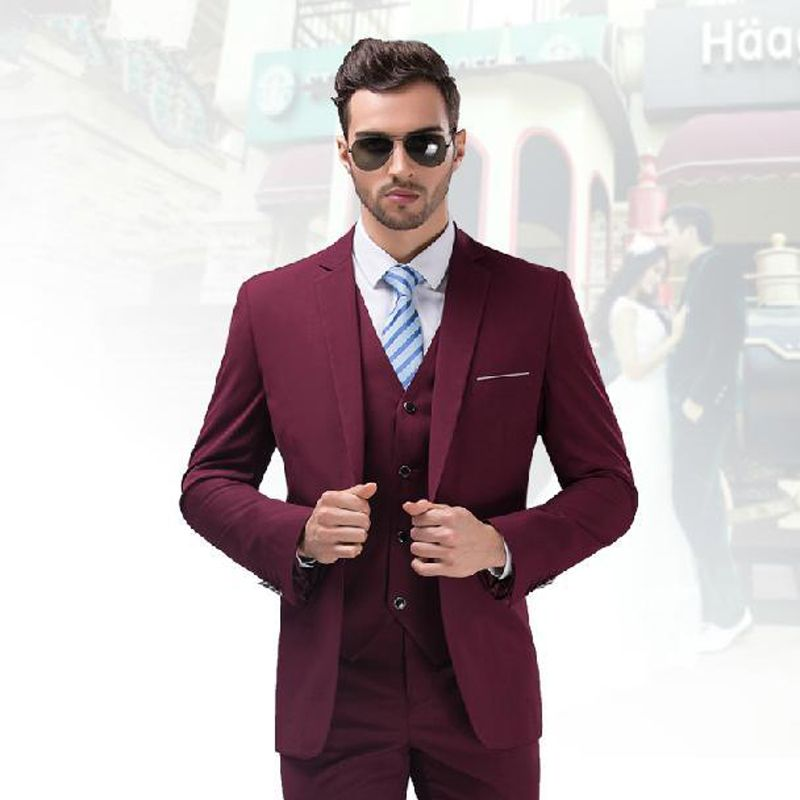 Terno Masculino 2016 Custom Made Burgundy Tuxedo Jacket Men Slim ...
