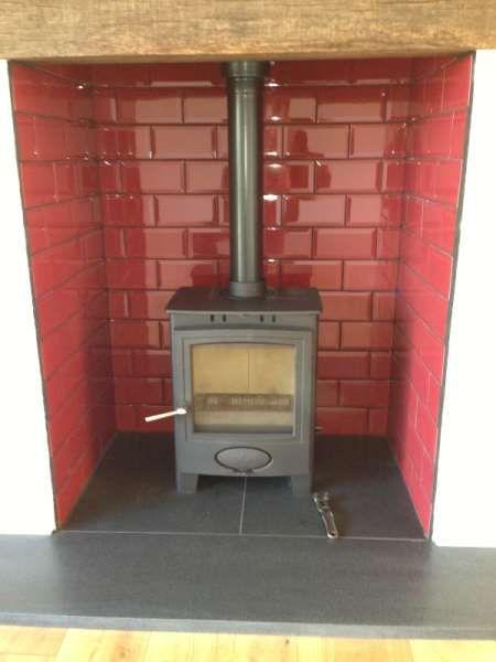 Wood Burner Tiled Inset Slate Hearth Fireplaces