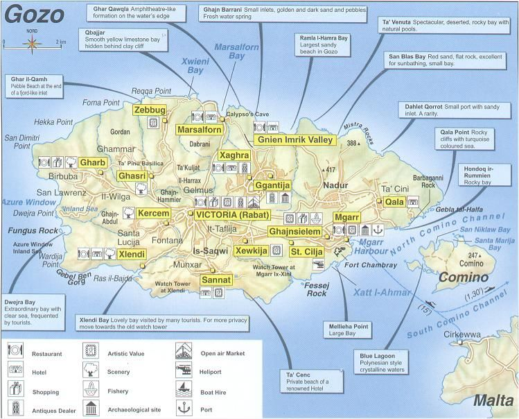 Gozo map with brief explanations sister island Gozo Pinterest