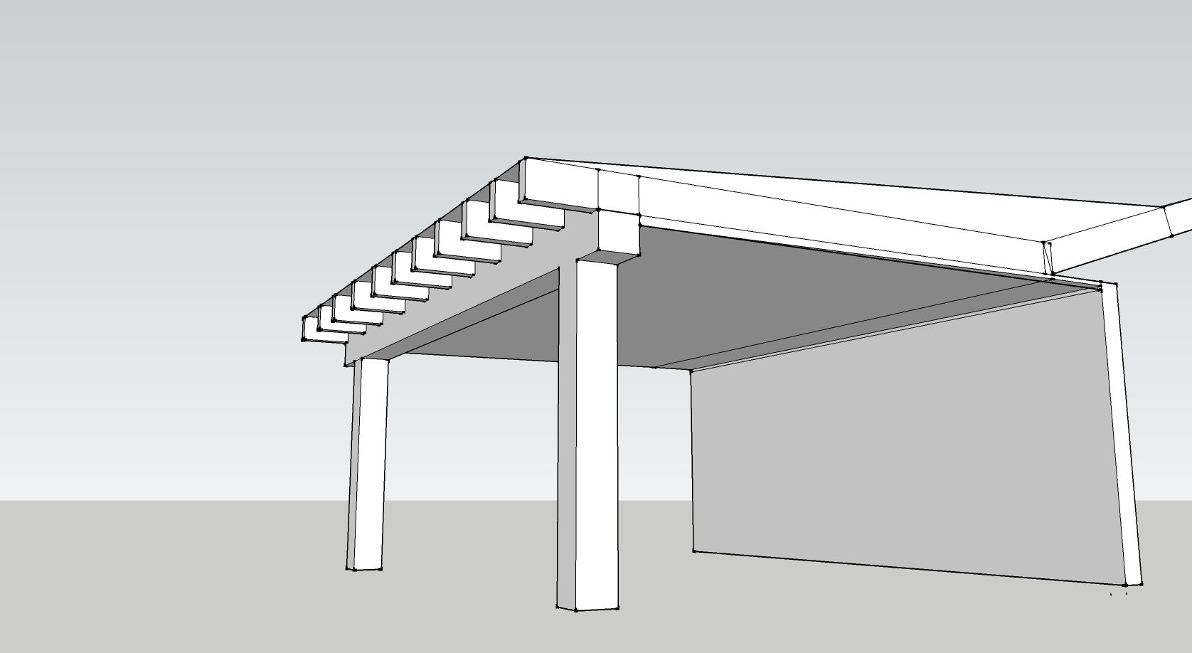 How about a second story over our deck courtyard area to for Flat roof garage with deck plans