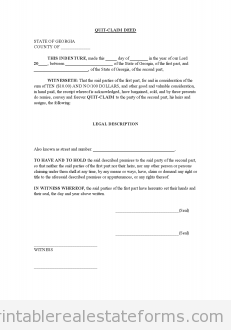 Free QUIT CLAIM DEED Printable Real Estate Forms | Printable Real ...