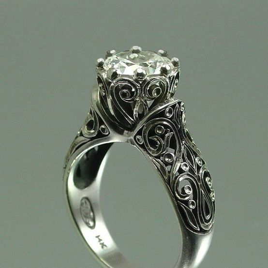 Love Old Fashioned Engagement Rings Wedding Vintage Filigree Ring
