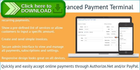 Free Nulled AuthorizeNet Advanced Payment Terminal Download