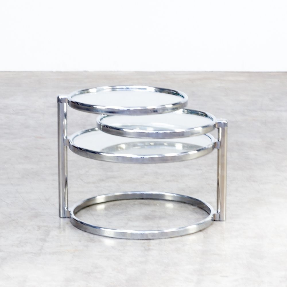 For Sale 70s Adjustable Round Glass Coffee Table Round Glass Coffee Table Glass Coffee Table Coffee Table