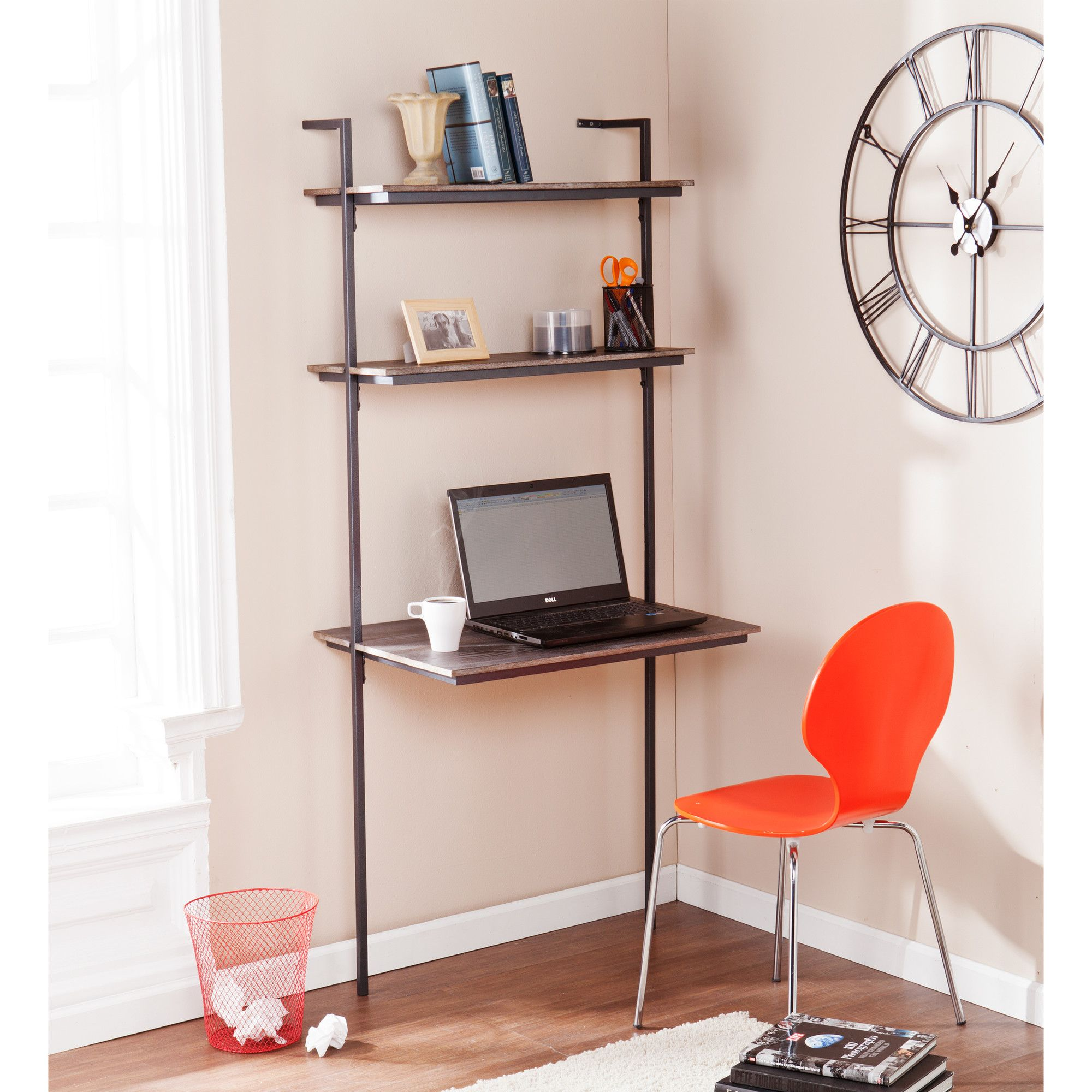 Joana Leaning/Ladder Desk | Shelves, Ladder desk and Squares