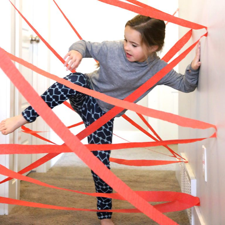 DIY hallway laser maze {indoor fun for kids} - It's Always Autumn