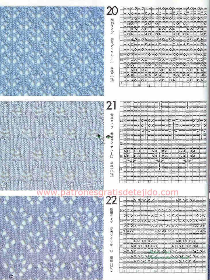 Cuarenta patrones de puntadas de tejido a dos agujas | muestras ...