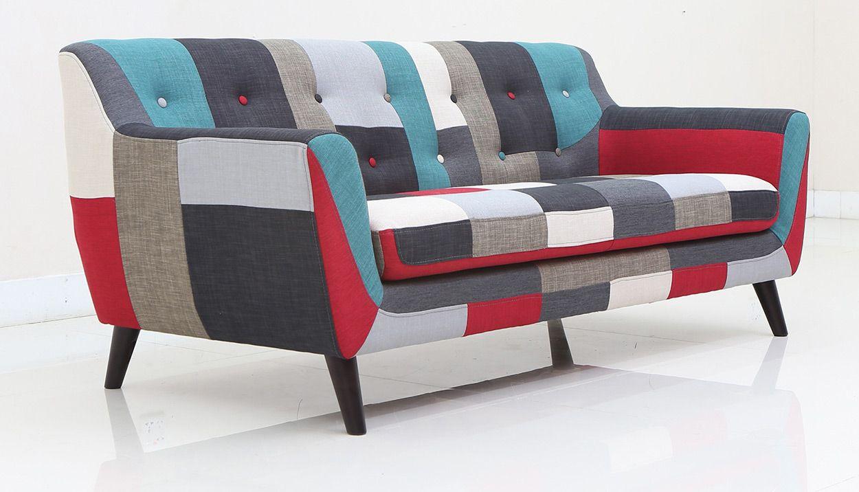 Wohnzimmer Garnituren ~ Couch bunt gepolstert mit holzfüße 165x77x70cm garnitur stoffcouch