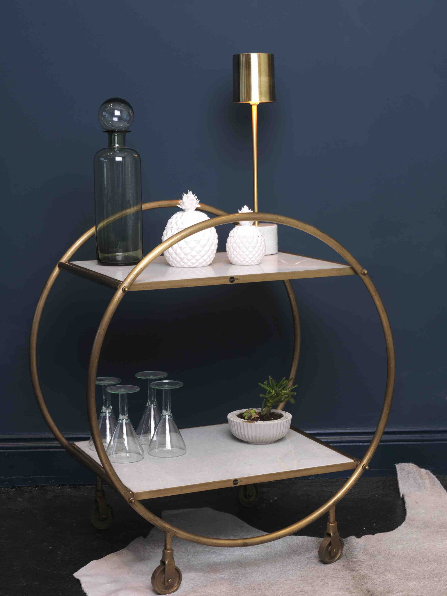 Brass And Marble Drinks Trolley Dust