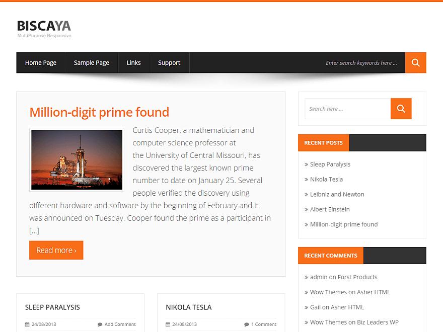 BLOG THEME - Biscaya Lite — Free WordPress Themes (4.5 stars) 7000+ ...