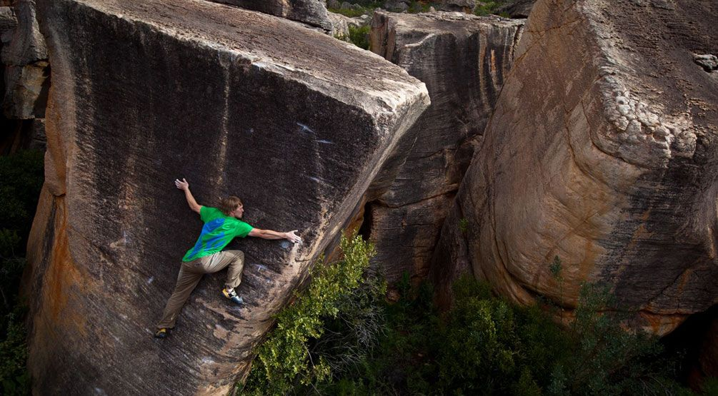 Nalle Hukkataival doing the first ascent of Peahi (V12) in Rocklands, South Africa Photograph by Cameron Maier.