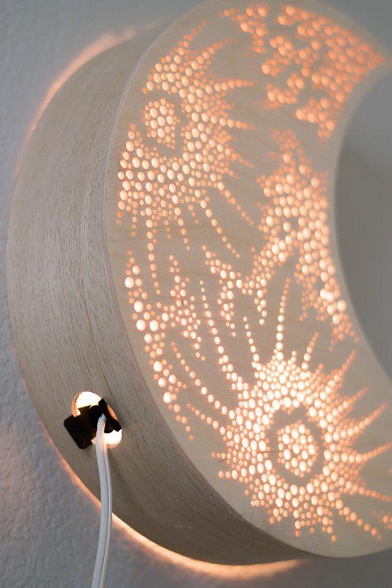Crescent Moon Night Light Wooden Accent Lamp By Lightingbysara Light Led Lamp Design Night Light