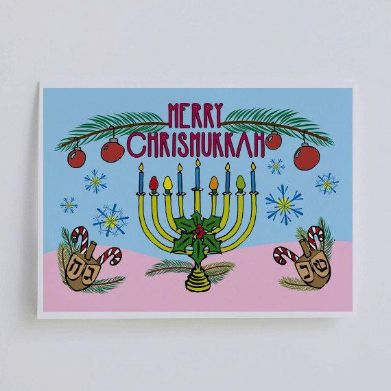 chrismukkah kaart   Chanoeka-kaart   Joodse kerstkaart   chrismukkah kaarten   Gelukkig chrismukkah   Merry chrismukkah