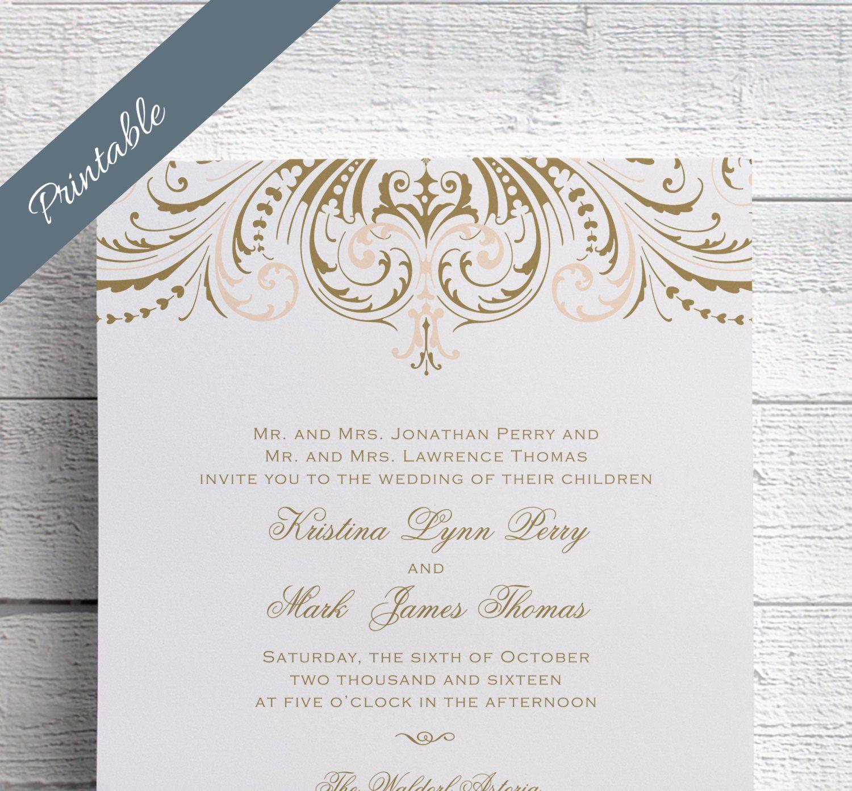 Blush pink and gold wedding invitations, diy wedding invitation ...