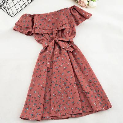 Women Floral Dress bohemian A-Line Slash Neck Short Sleeves Dress JKP1821 2