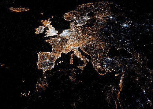 Europe,lights,map