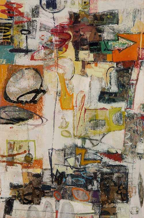 Leslie Allen - Leslie Allen at Seager Gray Gallery showing Wall of Tales a painterly abstract oil painting.