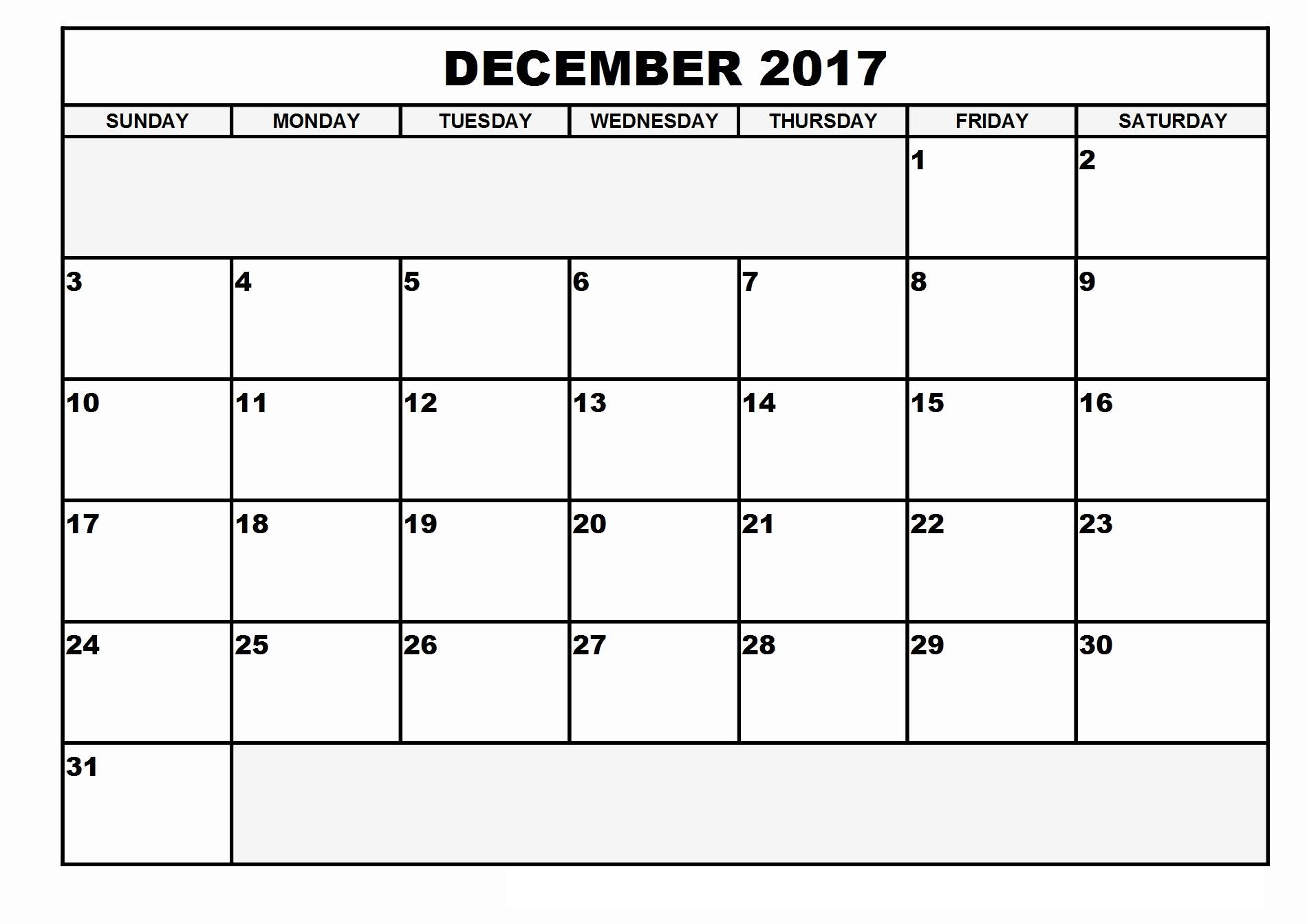 December Calendar By Week Printable