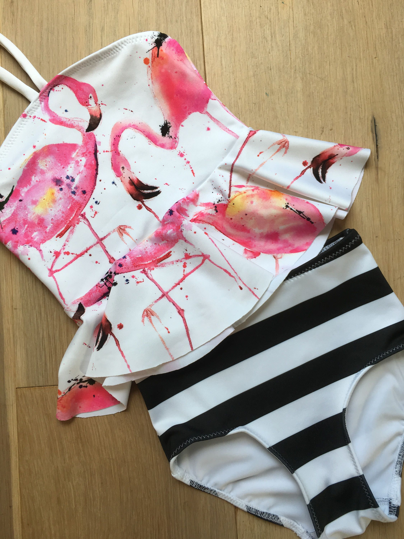 57cc3b72fb679 Girls Peplum Swimsuit / Girls Swimwear / Toddler Girls Swimsuit / Two Piece  Swimsuit/ Pink Flamingo and stripe Peplum two piece by GONE2QUONNIE on Etsy