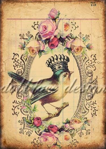 Bird Queen No. 1 - Printable Digital Download - Victorian Ephemera Grunge Collage - ATC - Scrapbooking - Gift Tag - Art Print. $4.99, via Etsy.