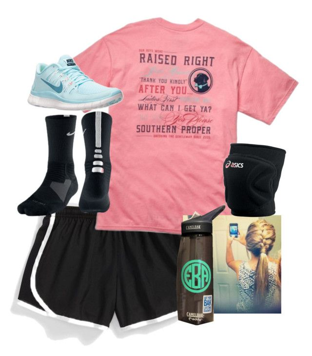 """""""What I Wish I Had For Volleyball."""" by moony2725 ❤ liked on Polyvore featuring NIKE, Southern Proper, CamelBak, Asics, women's clothing, women, female, woman, misses and juniors"""