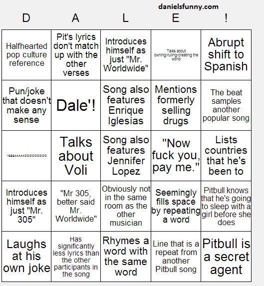 Pitbull Song Bingo Drinking Game Pitbull Songs Drinking Games Songs