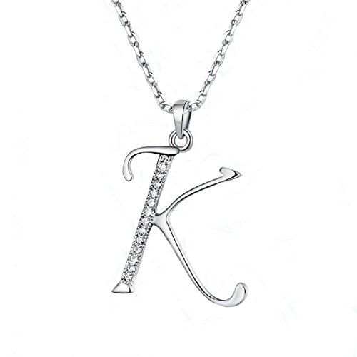 Wakanoo elegant silver plated initial letter k pendant necklace for wakanoo elegant silver plated initial letter k pendant necklace for girls box chain 18 inches wakanoo mozeypictures Images