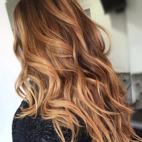 light caramel hair color on long hair