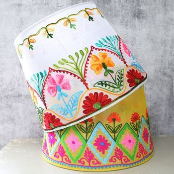 Folklandia large embroidered lampshade embroidery macrame folklandia large embroidered lampshade aloadofball Choice Image