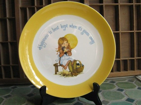 1970s Decorative Plate / 70s Yellow Wall Plate with Kitties and ...