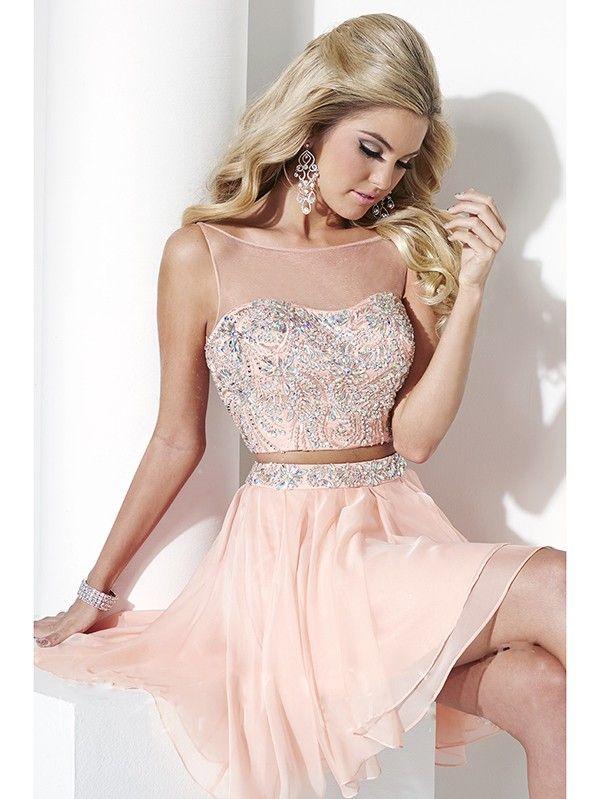 A-Line/Princess Scoop Sleeveless Beading Short/Mini Chiffon Dresses ...